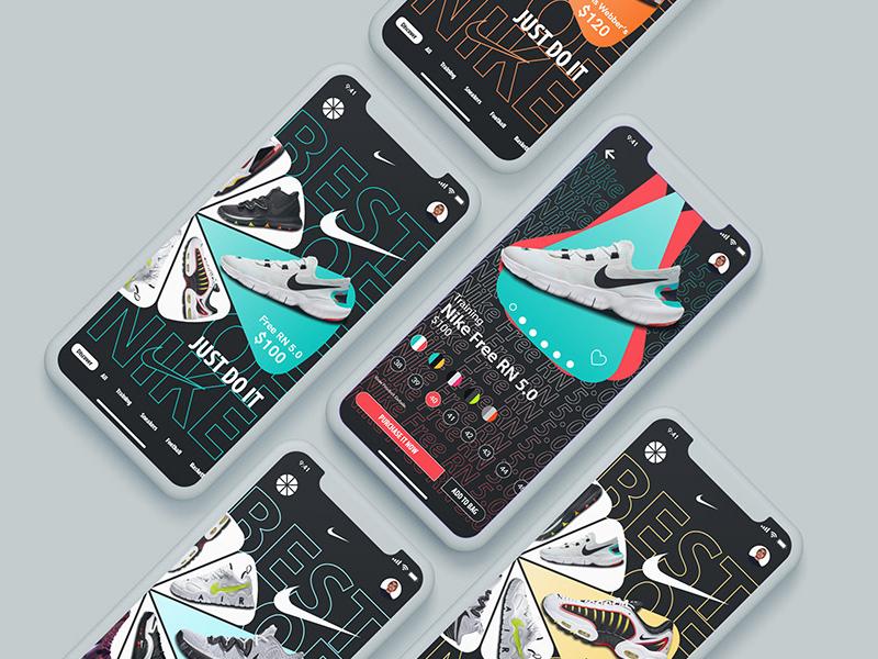 Freebie: Nike Brand UI/UX Mobile Template