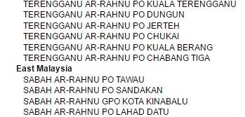 senarai POS Arahnu di seluruh Malaysia