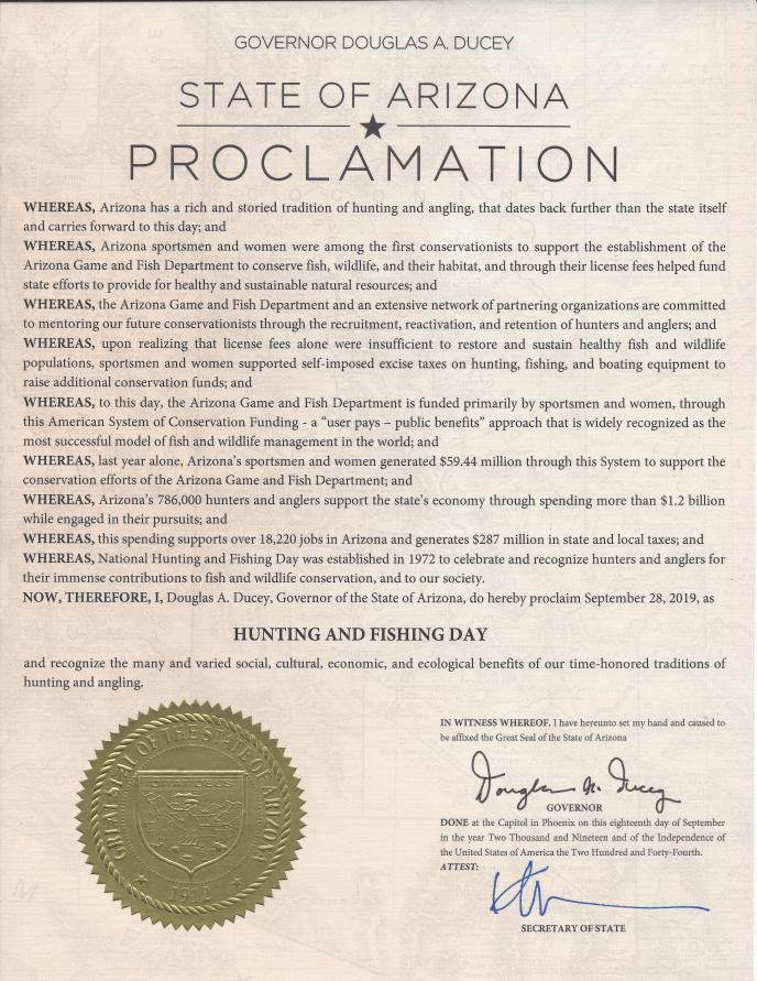 2019 Hunting & Fishing Day Proclamation