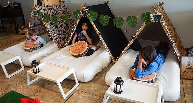 Camouflage or Safari teepee party, glamping party theme, Teepee Party Scottsdale (6)1