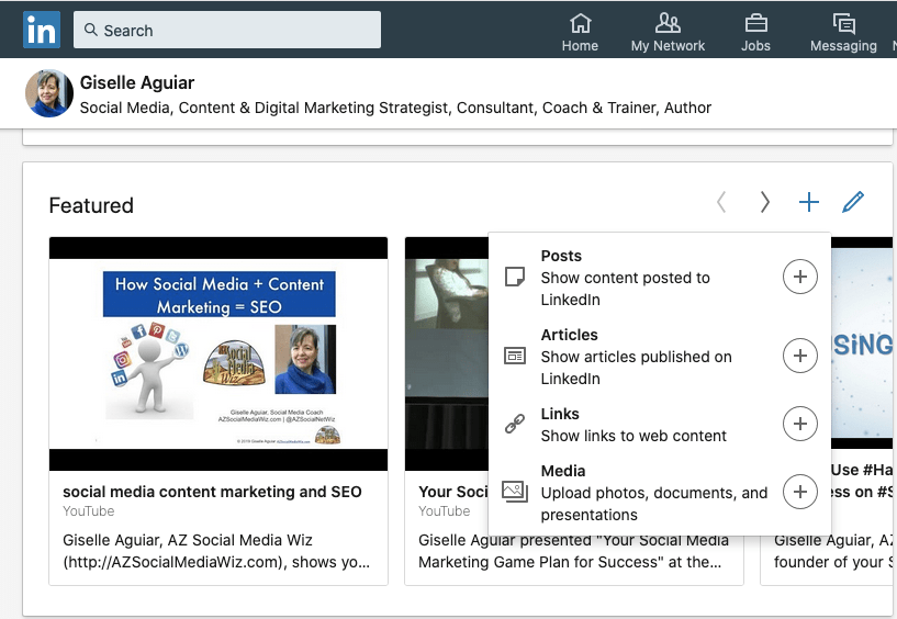 Social Media Marketing News: Feature posts, articles, links & media on your LinkedIn profile.
