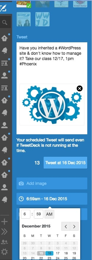 Use TweetDeck to post images to Twitter & schedule it for the future.