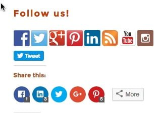 Social Media share and follow buttons