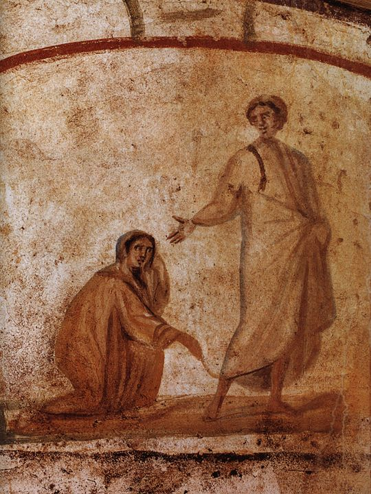 Christ Healing a bleeding woman, as depicted in the Catacombs of Marcellinus and Peter.