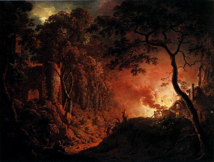 Cottage Fire by Wright c1787
