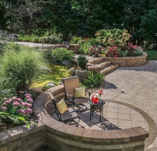 Cambridge Pavers lower patio with steps and landscape, Wappingers Falls NY