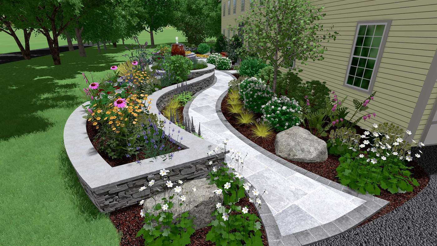 3D Design for a walkway and landscape including LED lighting in New Palz NY