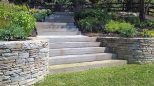 Natural Blue Stone steps with wall, Millbrook NY