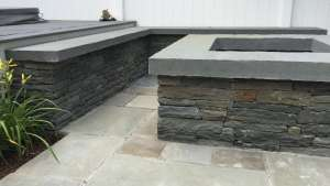 Custom natural stone Gas Fire-Pit, New Paltz ny