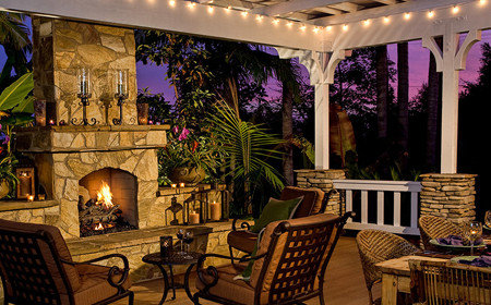 Fire place with low voltage lighting illuminating a beautiful pergola, Poughkeepsie NY