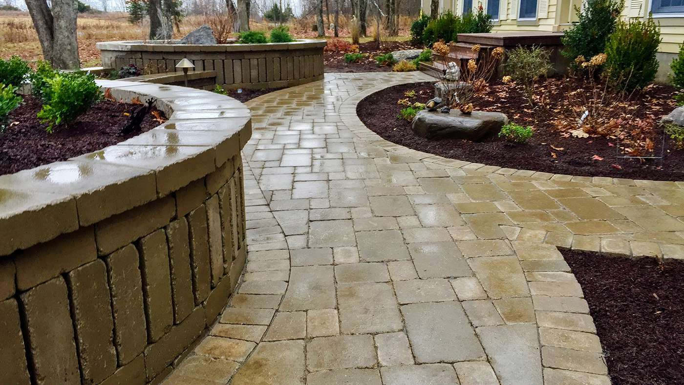 Unilock pavers walkway in new paltz ny with landscaping