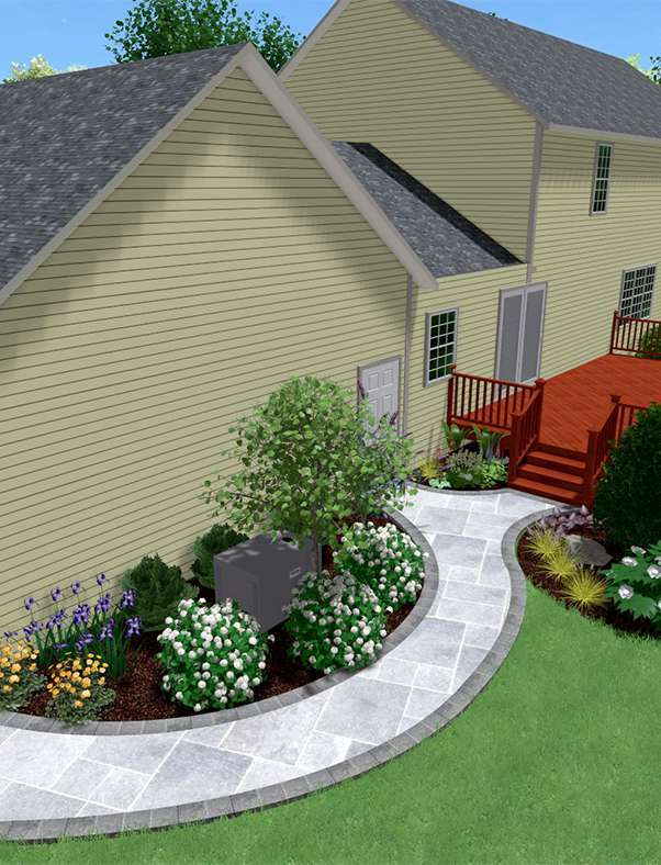 3D back walkway design with landscape to hide AC unit