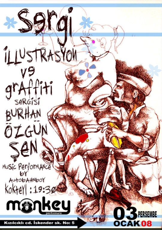 Illustration & Stencil exhibition in Eskisehir/ Turkey. 2008