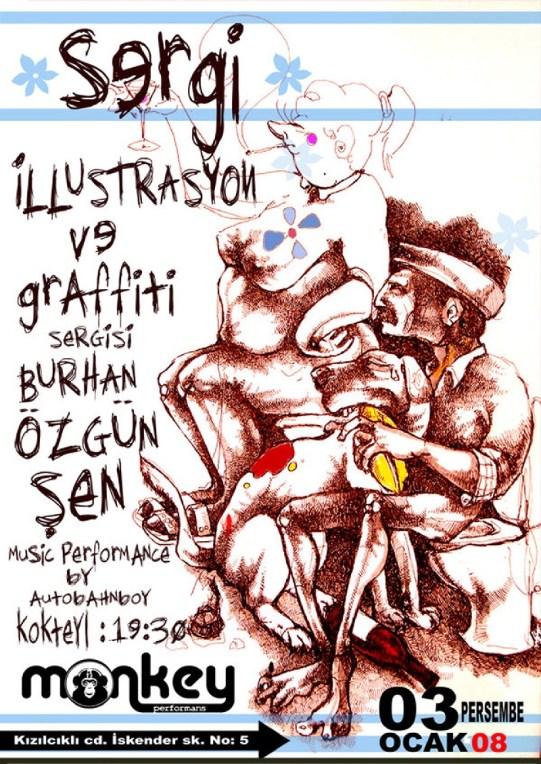 Illustration & Stencil exhibition in Eskisehir/ Turkey. 2008