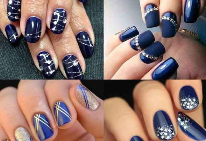 Diseño Y Decoración Con Esmalte De Uñas En Azul Marino