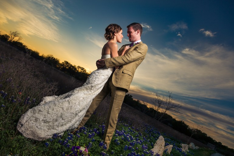 Stacy & Travis: Wedding at The Winfield Inn in Kyle - Blue Hour Wedding Portraits - Austin Wedding Photographers