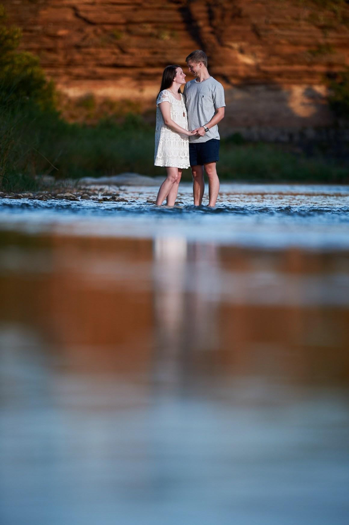 Chase and Lindsey Kayaking Engagement on Llano River