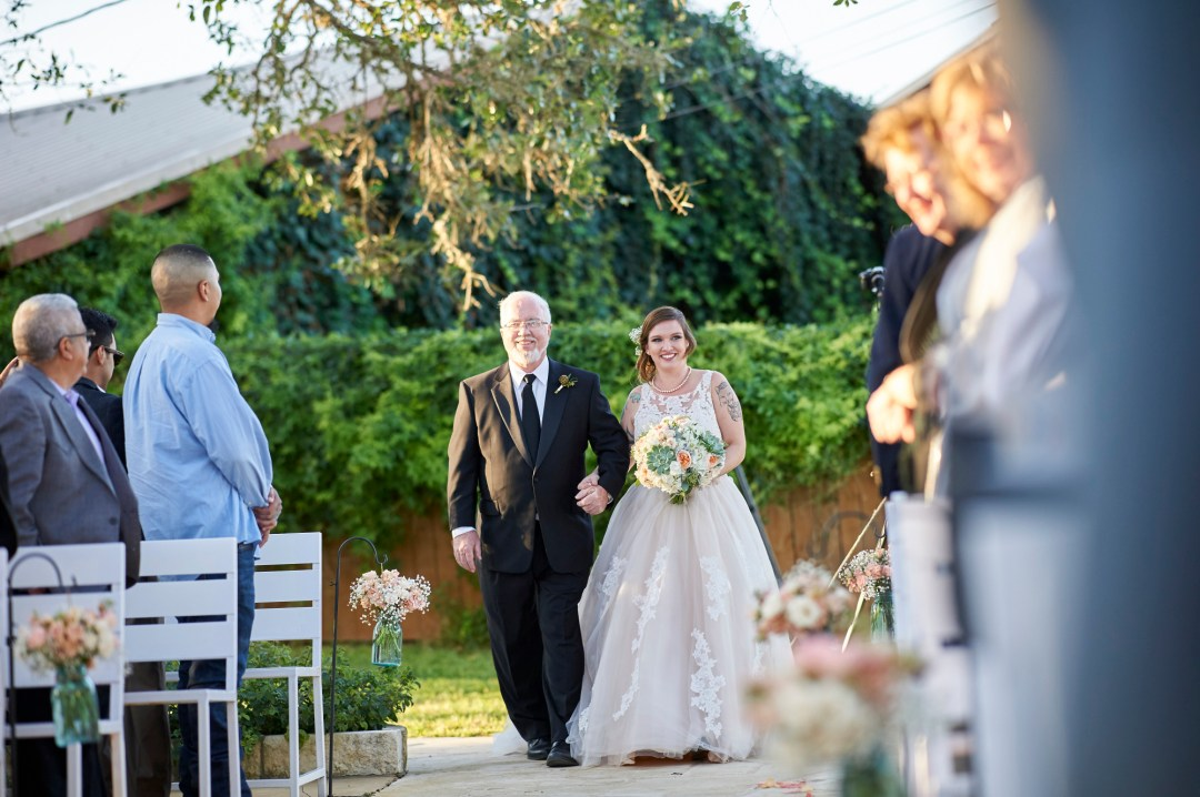 Briden Walks down the Isle, Wedding, Memory Lane, Dripping Springs