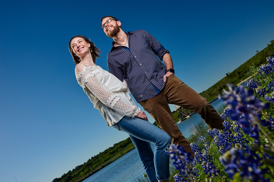 Bluebonnet Engagement Photo - Hallie and Jonathan - Green Family Camp - Bluebonnet Wedding
