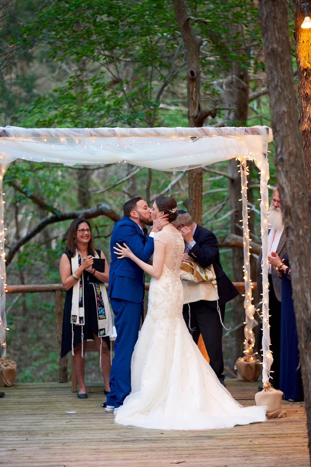 Forest Wedding Ceremony - Waco DIY Wedding - Temple Camp Wedding - Hallie and Jonathan - Green Family Camp - Outdoor Wedding