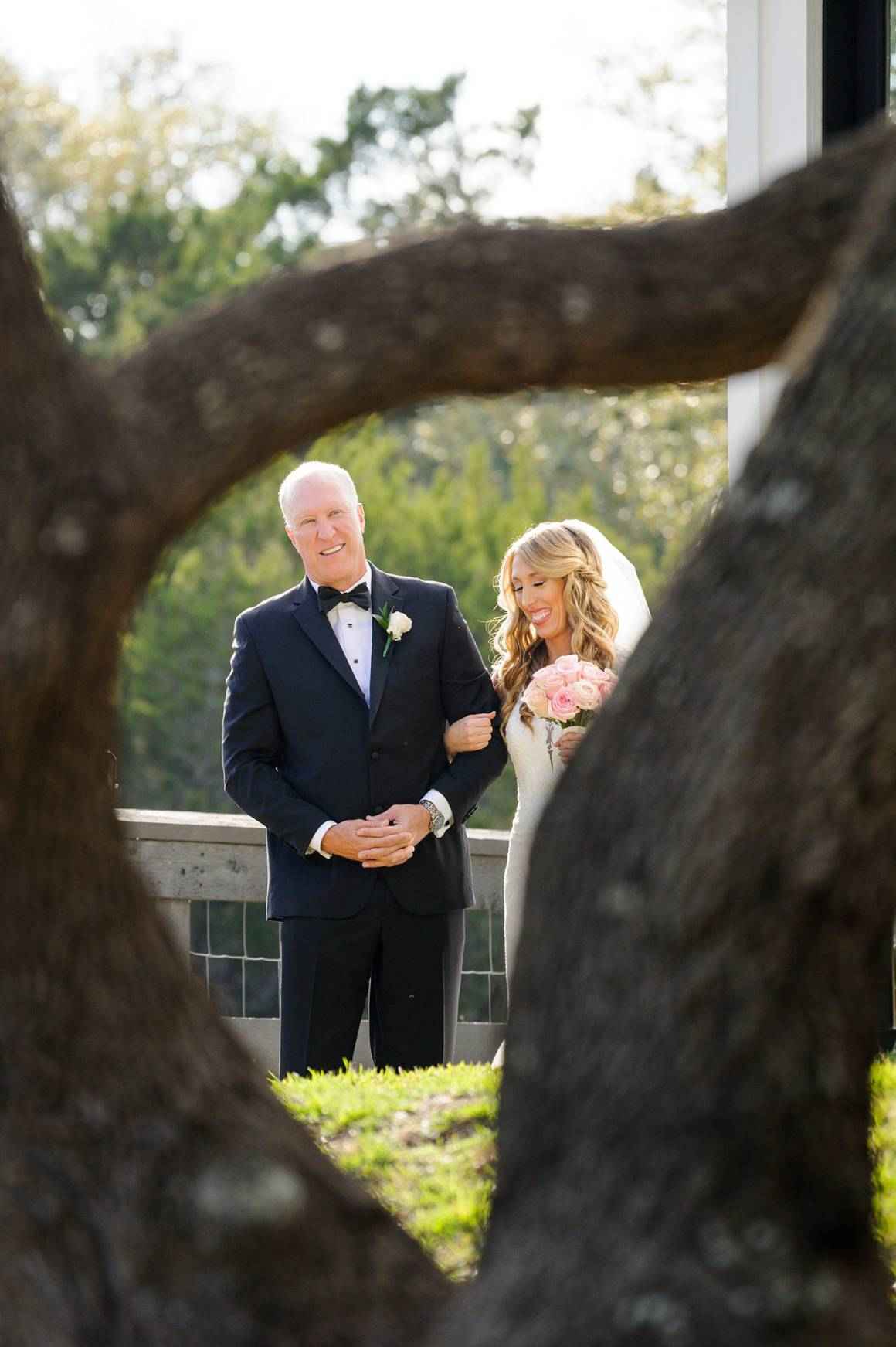 Antebellum Oaks Wedding - Austin Wedding Photographer - Jacob and Katie - dad walking bride down aisle -