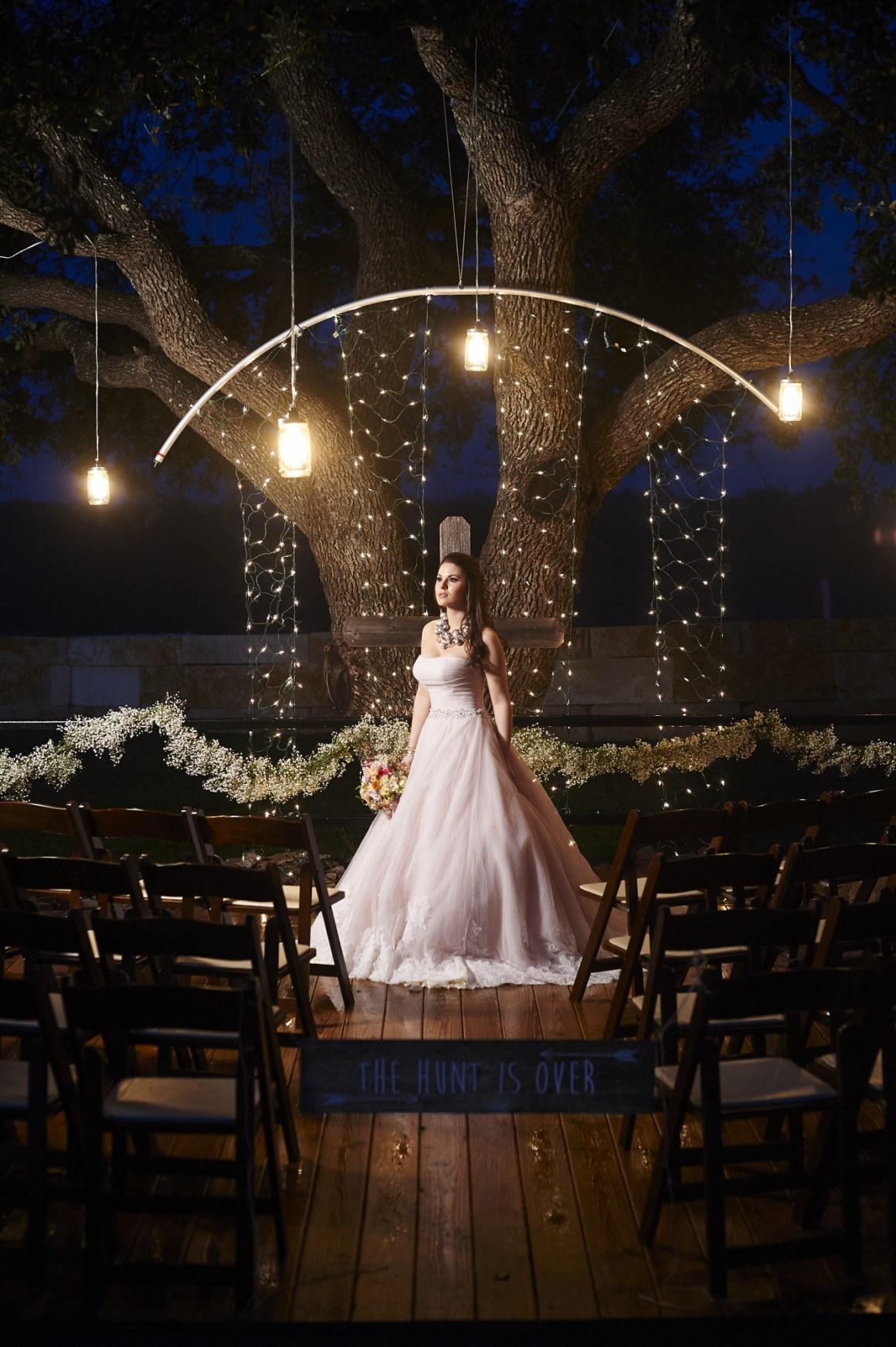 Epic Blue Hour Bridal Portrait - Texas Oak Tree Bridal Portrait - Blush Wedding Dress - Blue Hour Wedding Ceremony - Austin Wedding Photographer - Rustic Wedding