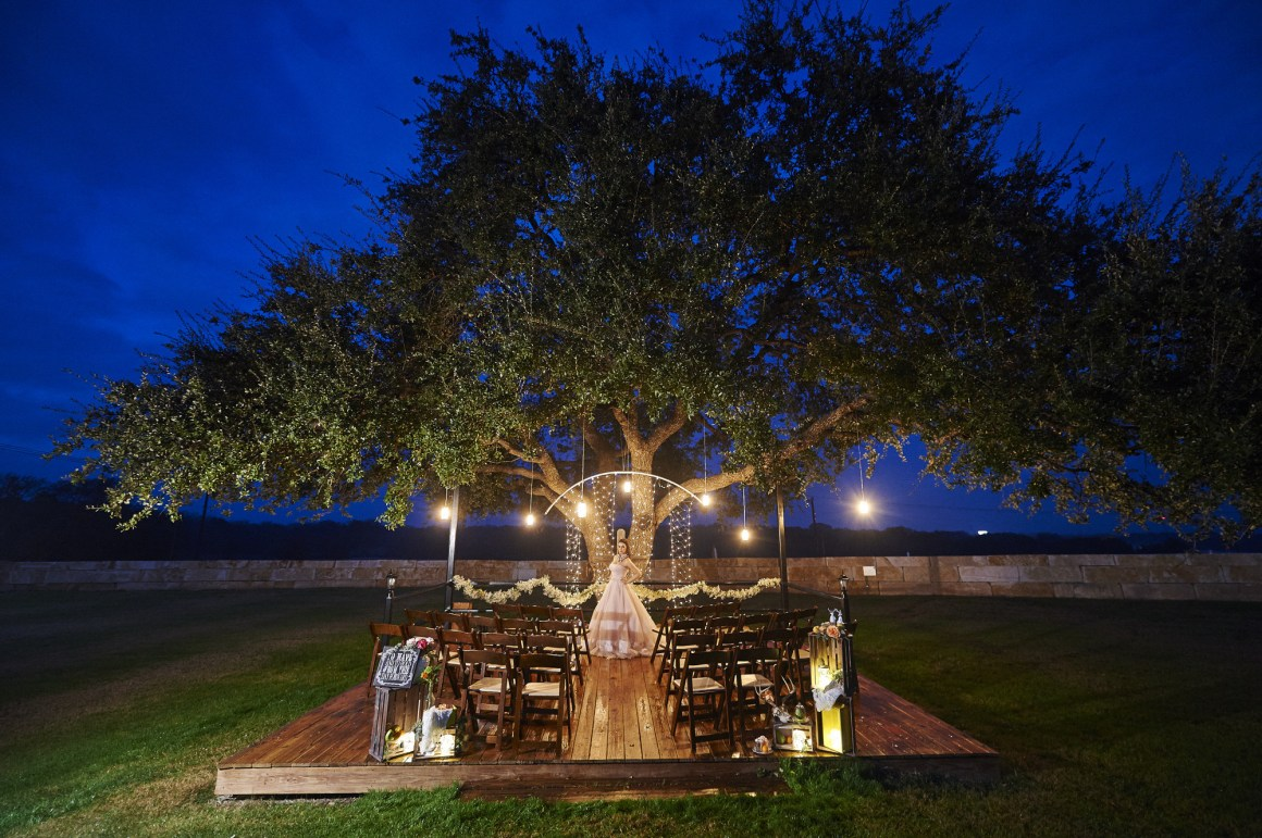 Epic Blue Hour Bridal Portrait - Texas Oak Tree Bridal Portrait - Blush Wedding Dress - Blue Hour Wedding Ceremony - Austin Wedding Photographer - Rustic Wedding