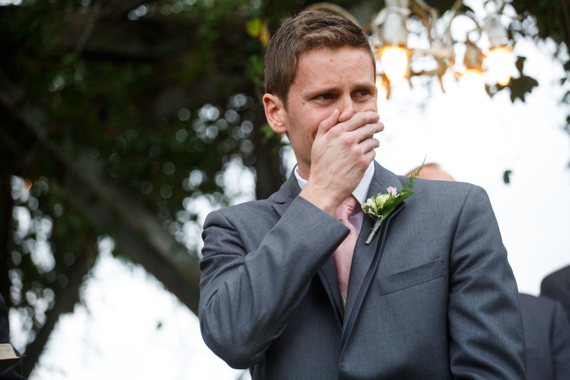 Hill Country Wedding - Pecan Springs Ranch Wedding - Wedding Ceremony- Grooms First Look - Austin Wedding Photographer - Matt and Allison