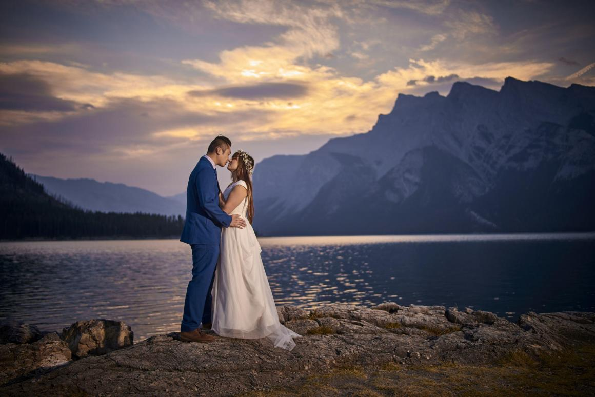 Emily and Jasper, Banff Destination Wedding - Sunrise First Look, Bride and Groom, Lake Minnewanka