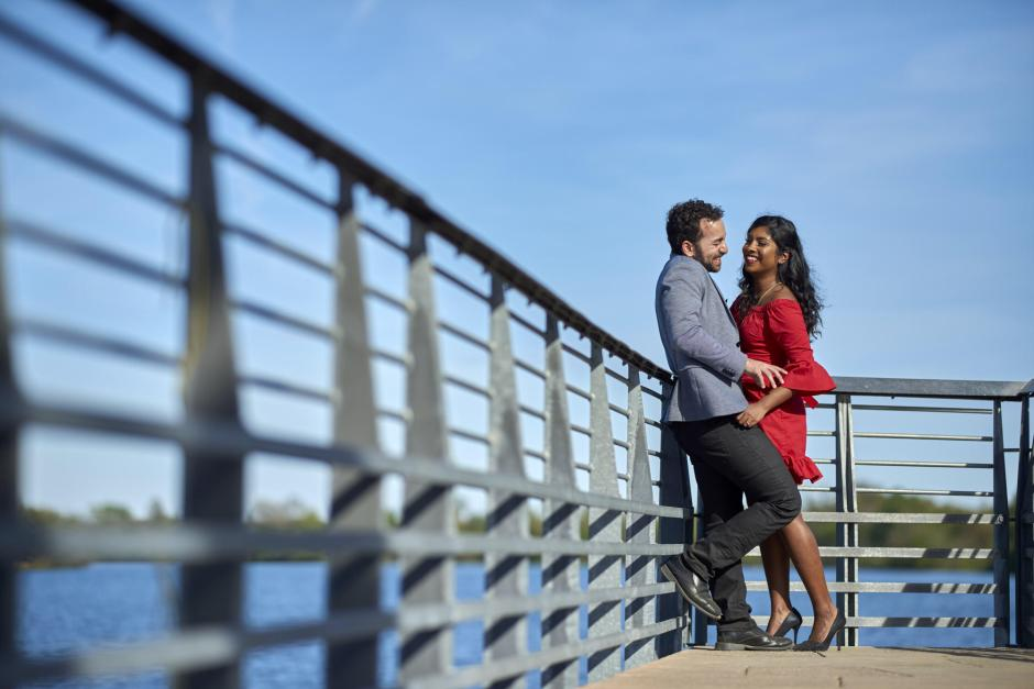 Austin Engagement Photos on Town Lake Board Walk