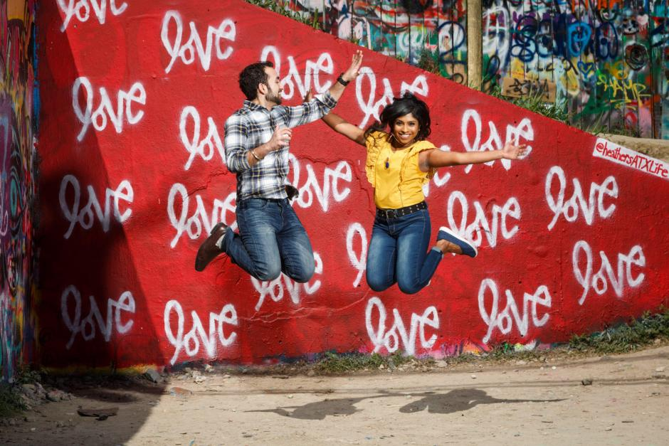 Austin Austin Engagement Photos at the Hope Outdoor Gallery Garffiti Wall - Jump for Love