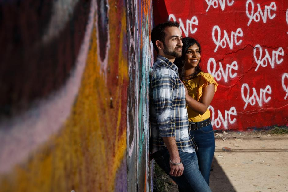 Austin Engagement Photos at the Hope Outdoor Gallery Garffiti Wall - Love Love Love