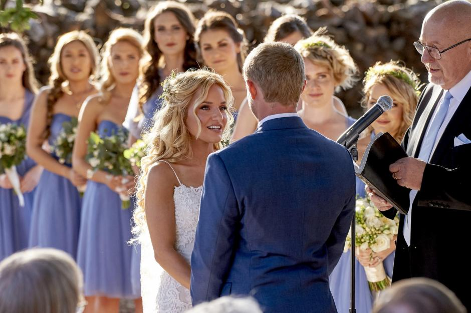 Private Santa Clarita Home - Sunset Wedding Ceremony - Bride and Groom Exchanging Vows