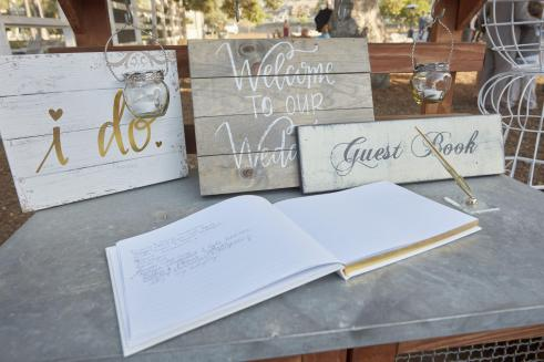 Wedding guest book and gift table.