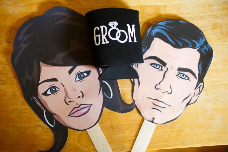Archer and Lana masks with Groom Cozy