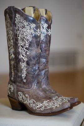 Bride's dancing boots at TerrAdorna Wedding in Austin, Tx