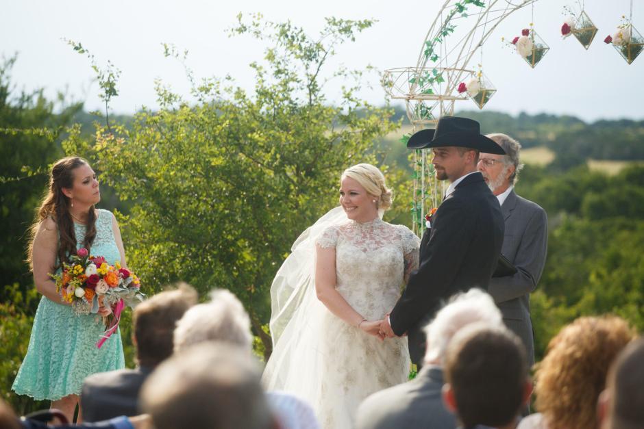 Wes and Cheyenne Wedding Ceremony at TerrAdorna in Austin, Tx