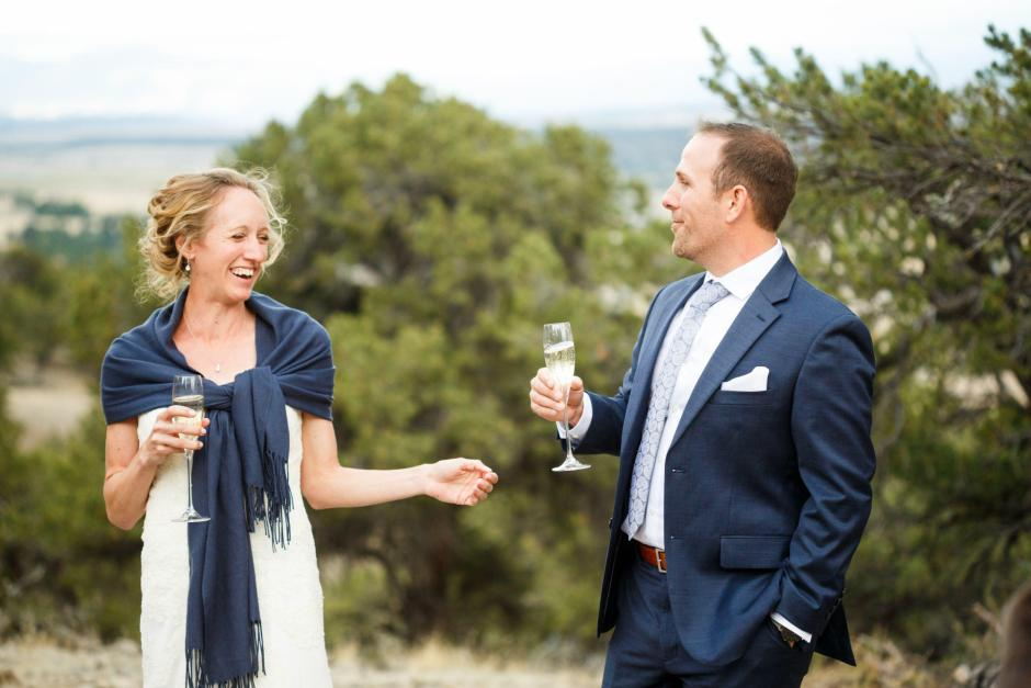 Allison and Gabe receive toasts at their wedding.