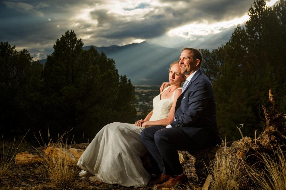 Allison and Gabe Sunset Wedding Couple Photo - DIY Colorado Destination Wedding - Buena Vista