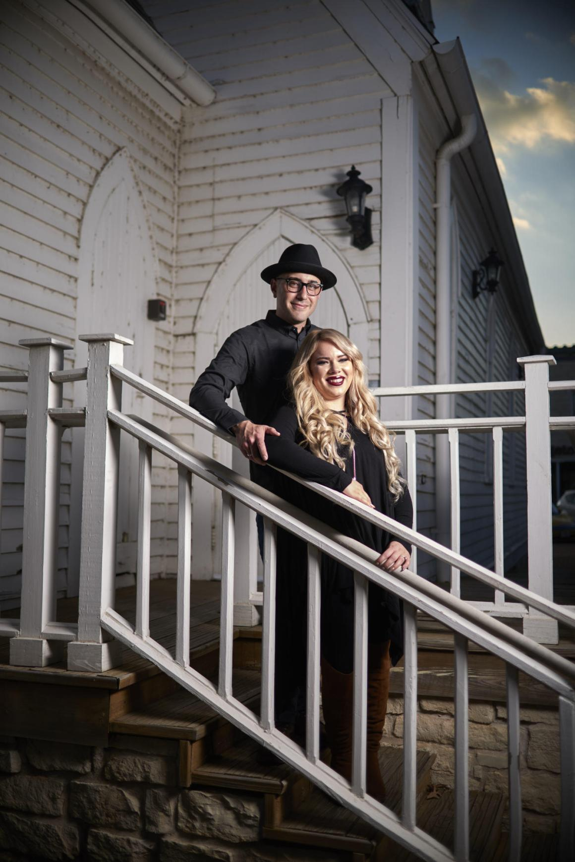 Downtown Georgetown Halloween Engagement - Danny and Cat - Historic Church in Georgetown and Sunset