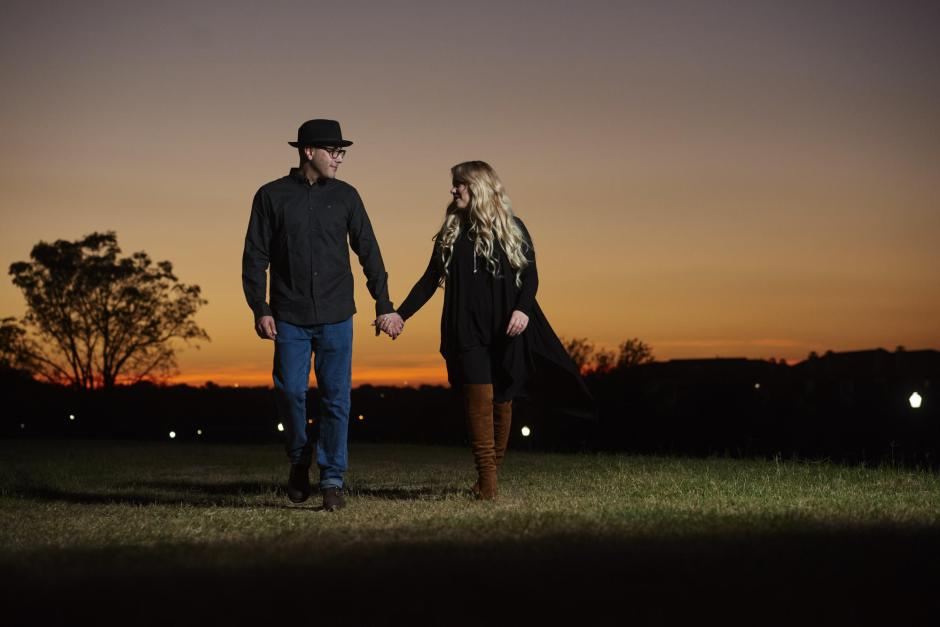 Sunset engagement photos at VFW park in downtown Georgetown