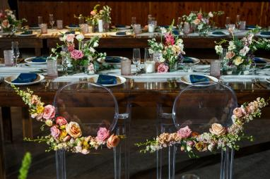 Mike and Kathie's Palm Door on Sixth wedding center pieces by Valerie Wolf of David Gray