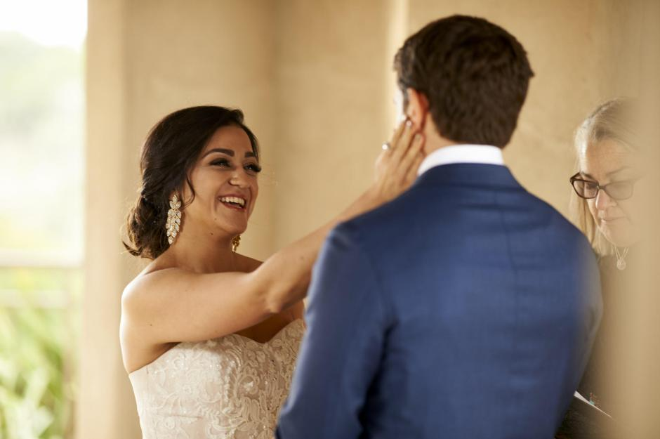 The bride greets the groom at her Chapel Dulcinea elopement wedding ceremony.