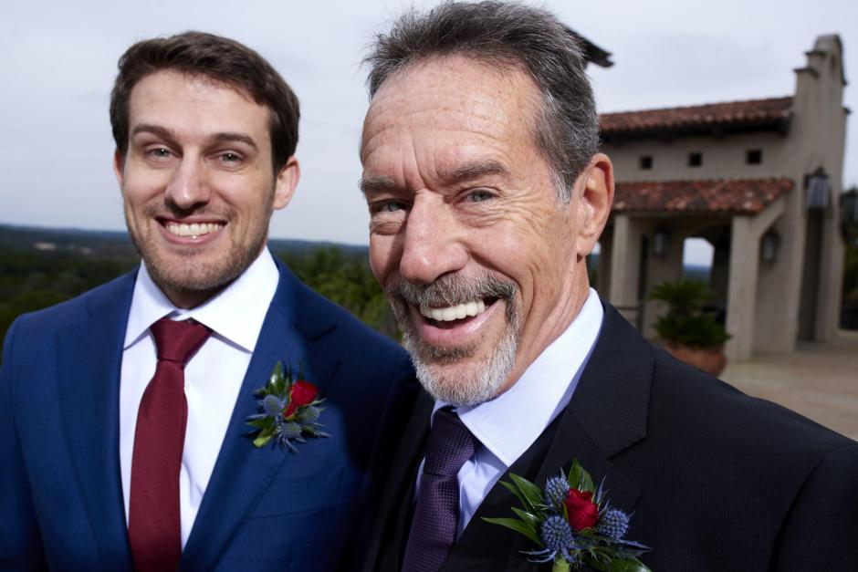 The groom's dad is excited after their Chapel Dulcinea elopement wedding ceremony.