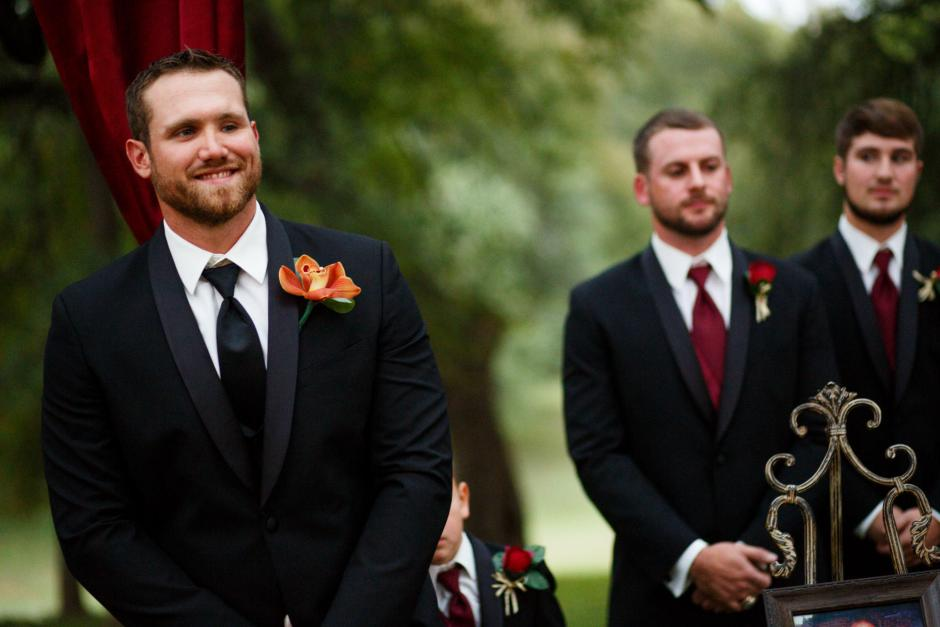 Groom waits for his bride at a Cathedral Oaks Wedding in Belton, Tx