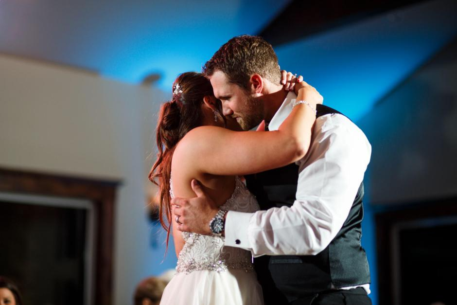 Bride and Groom have their first dance at Cathedral Oaks in Belton, Tx.