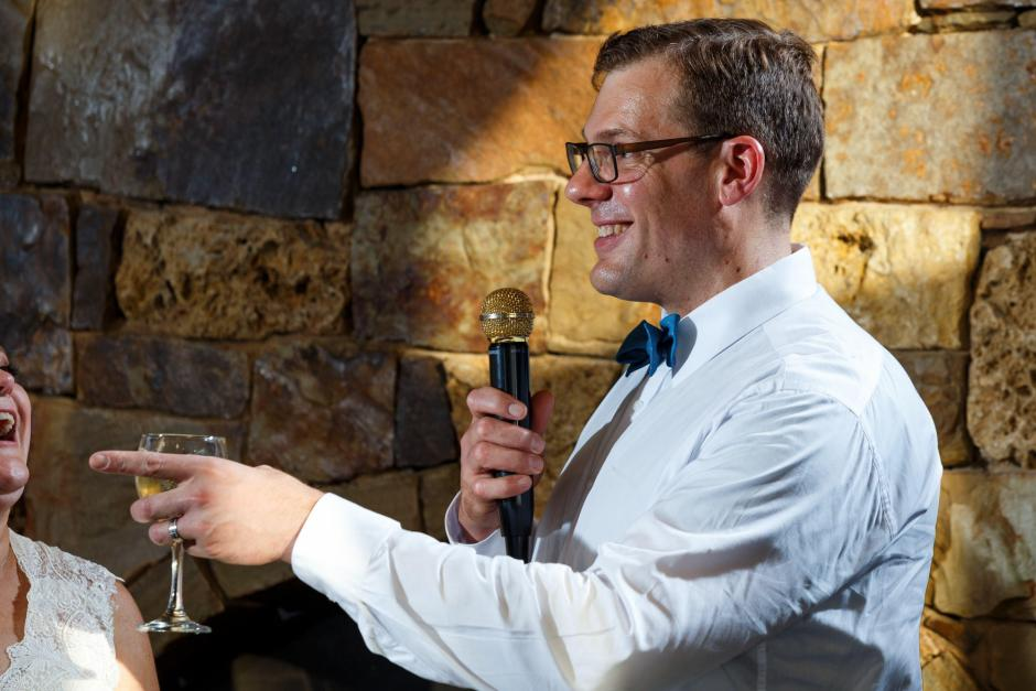 Groom thanks guests at his The River Venue wedding reception in New Braunfels Texas.