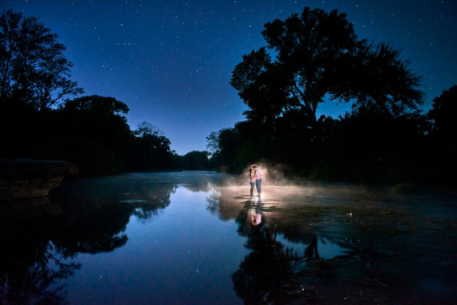Jonah Engagement Photos on the San Gabriel River under the stars.