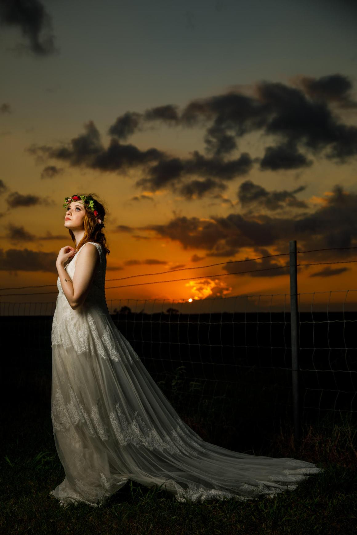 Austin and Meagan Sunset Wedding Portraits at their Old Fashion Wedding near San Antonio, Tx.