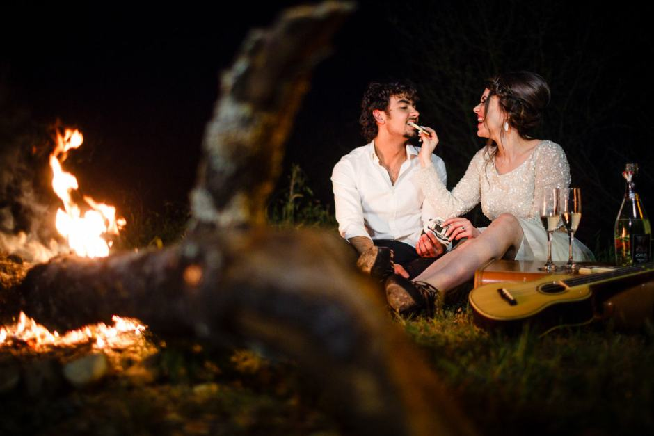 Austin Wedding Styled - Styled Elopement - Bride and Groom, guitar and camp fire.